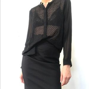 The Kooples sheer front blouse with leather collar